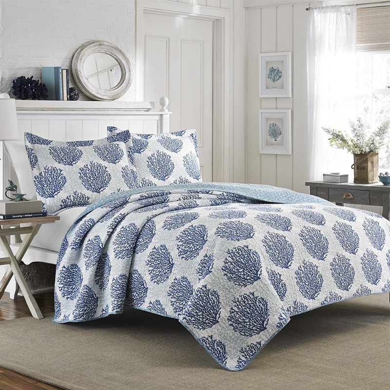 blue cora queen bedspread and quilt set