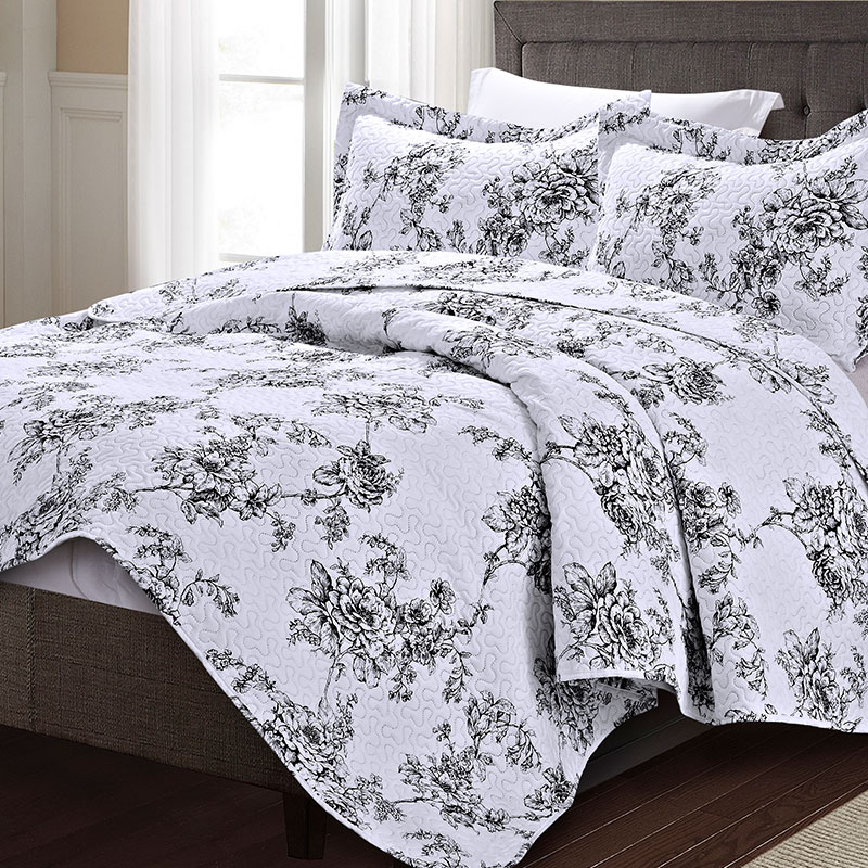 black rose print bedspread 3pc set