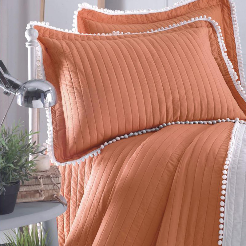 coral color quilted bedspread bedding set with pompoms