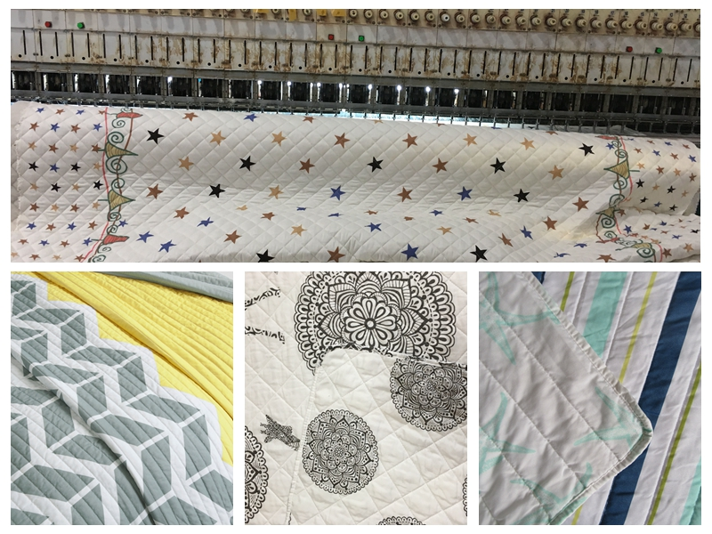 quilted bedspread in different stitching patterns