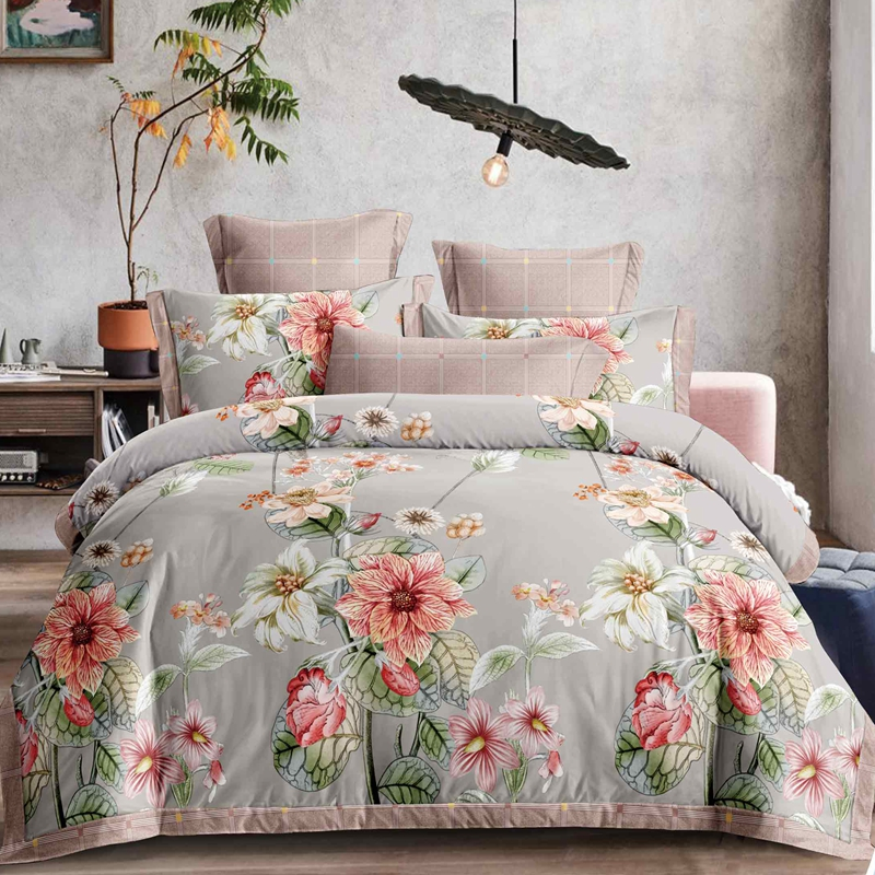 colorful flower printed duvet cover set