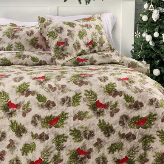 3 Piece Queen Size Holiday Quilt Set