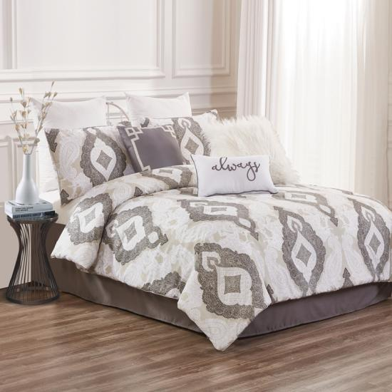 taupe damask 7pc comforter