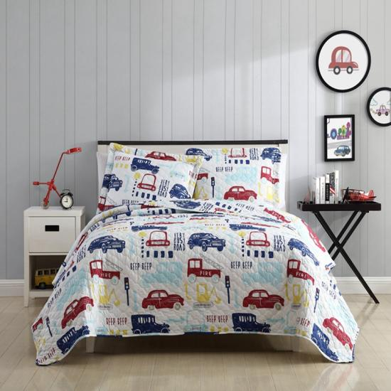 Twin Size 2 Pieces Quilt Bedspread Set Kids for Boys